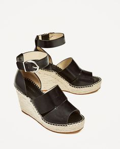 ZARA - SALE - JUTE WEDGES WITH ANKLE STRAP