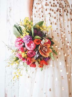 A gold-dusted dress and a bouquet of bright flowers. Floral Wedding, Wedding Bouquets, Wedding Flowers, Glitter Wedding, Wedding Dresses, Sequin Wedding, Gold Glitter, Wedding Colours, Flower Bouquets