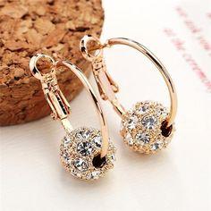Austrian Crystal Gold Earrings Woman Wedding Jewelry Gift