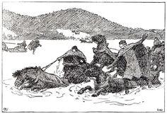 Erik Werenskiold: Halvdan Svarte drukner i Røkensvik Saga, Irish Redhead, Irish Celtic, Historian, Mythology, Norway, Art Reference, Medieval, Death