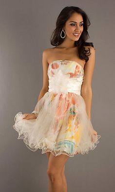 Short Strapless Print Dress with Tulle Skirt at PromGirl.com