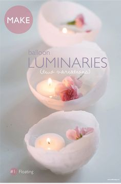 Balloon Wax Luminaries: Make these delicate wax candleholders by melting candle wax then dipping the balloon in the wax to the halfway point. Such a unique gift for those who love candles. Source: Willowday