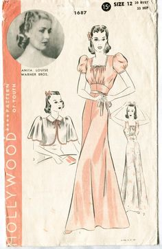 Hollywood Pattern 1687 Late 1930s glamorous negligee/dressing gown with bow detail and butterfly capelet