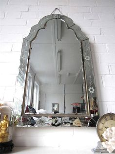 Vintage Large Art Deco Bevelled Edge Wall Mirror with Engraved Flower Design