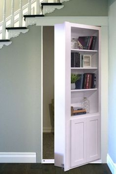 Flush Mount Door - Murphy Door, Inc Great place for a hidden door! What's under your stairs?Great place for a hidden door! What's under your stairs? Stairs Design, Stair Storage, Room Under Stairs, Hidden Rooms, Secret Rooms, Hidden Door, Murphy Door, Room Doors, Secret Door Bookshelf