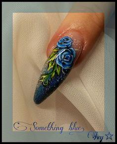 Something blue by Ivystar - Nail Art Gallery nailartgallery.nailsmag.com by Nails Magazine www.nailsmag.com #nailart