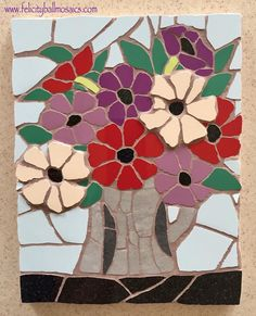 #mosaic #anemones #forsale in my #website #shop - details in #profile #mothersday #motherly #mothersdaygift #mother #handmade #gifts #flowers #art #artforsale