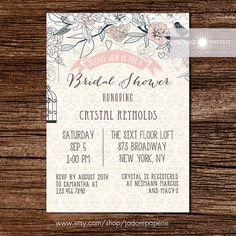 Rustic Bridal Shower Invite, Peony, Birdcage Invitation, Printable Invite, Coral, Floral Invite, Anniversary Invite, jadorepaperie