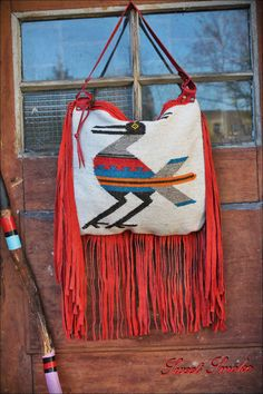 Leather bird red purse embroidery frida mexican by Caramelka, $95.00