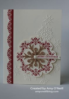 A Medallion Snowflake:  Stamps:  Daydream Medallions, Teeny Tiny Wishes  Ink:  Versamark, Cherry Cobbler  Paper:  Very Vanilla, Cherry Cobbler, Champagne Glimmer Paper, Festival of Prints dsp stack  Embellishments:  Large Scallop edgelit, Floral Frames framelits, Snow Flurry Bigz die, Northern Flurry embossing folder, Cherry Cobbler Stampin' Emboss Powder, Pearl Basic Jewels