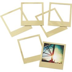 """Polaroid"" magnetic gold frames https://keep.com/set-of-6-magnetic-gold-frames-by-julieh76/k/5rt5OMgBPV/"
