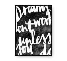 Dreams don't work unless you do, arte imprimible, arte para pared, arte de amor, láminas imprimibles, Poster, tipografía, motivacional de EydavyDesign en Etsy