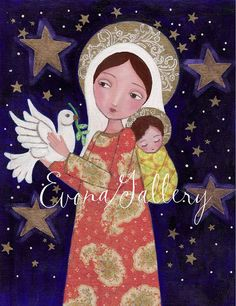 Items similar to Madonna with Child and Dove , Print Of Original Art ,Mix Media, Folk Art, Wall Decore by Evona on Etsy Catholic Gifts, Catholic Art, Religious Gifts, Religious Art, Blessed Mother Mary, Blessed Virgin Mary, Clare Of Assisi, Original Paintings, Original Art