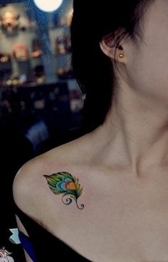 Colorful Feather Tattoos for Women on Shoulder