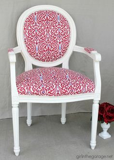 DIY Reupholstered Chair Makeover and Lessons Learned - by Girl in the Garage