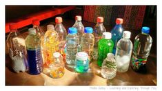 How to make sensory bottles. Lots of ideas for additions to sensory bottles for learning and sensory play!