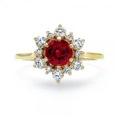 18kt Yellow Gold Ruby and Diamond Ring // J.M. Edwards Jewelry // Cary, NC