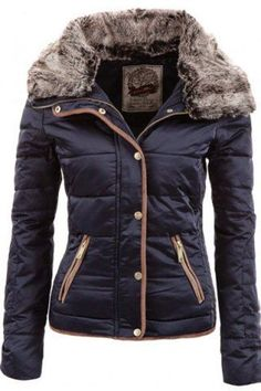 Chic Turn-Down Neck Long Sleeve Pocket Design Women's Padded Coat Jackets | RoseGal.com Mobile