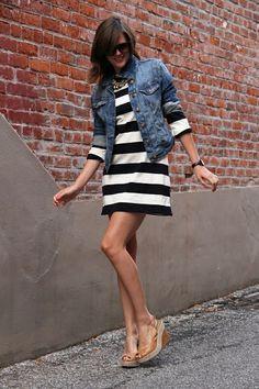 short dress, bluejean jacket, wedge shoes & dark sunglasses ~ my style. ;-)