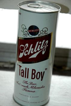 Tall Boy: Also know a as a tall can. A 24 oz can of beer. Not to be confused with a pounder a can of beer, or a deuce deuce a bottle of beer. I Like Beer, All Beer, Best Beer, Beer Can Collection, Old Beer Cans, Schlitz Beer, Beer Art, Beer Brands, Beer Signs