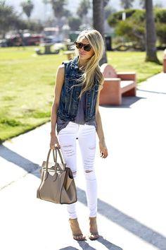 Spring/Summer: Heels + White Ripped Jeans + Tops + Denim Vests
