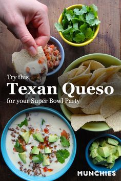 Win your Super Bowl party with this classic Texan queso. Healthy Superbowl Snacks, Quick Snacks, Vegan Snacks, Architecture Design, Great Recipes, Favorite Recipes, Queso Recipe, Mexican Food Recipes, Ethnic Recipes