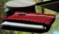 Red Crochet IPad Cover/ Grey Reading Tablet by Chocolatepepper, $25.00