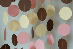 Pink, Ivory & Brown Baby Garland, Nursery Decor, Girl's Birthday Party, Baby Shower Decorations, 10 ft. long