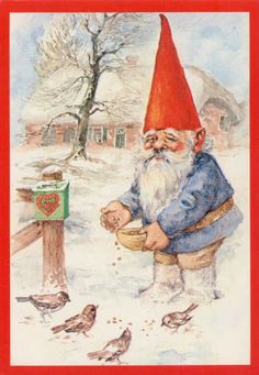 Gnomie loved his feathered friends, Rien Poortvliet Woodland Creatures, Magical Creatures, Fantasy Creatures, David The Gnome, Baumgarten, Kobold, Dutch Artists, Christmas Gnome, Flower Fairies