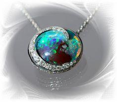 Queensland Opal within Diamond Crescent Pendant #opalsaustralia