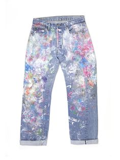 Jessica Alba's Weekend Essential: Splatter-Paint Jeans via @WhoWhatWearUK