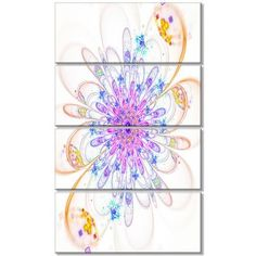 DesignArt 'Blue Fractal Flower with Abstract Petals' 4 Piece Graphic Art on Wrapped Canvas Set