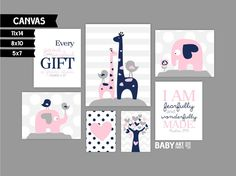 Navy grijs roze meisje kwekerij canvas art Set door babyartprints