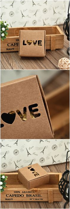 country rustic themed LOVE laser cut wedding favor box ideas