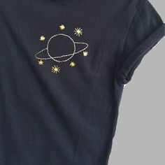 Planet and Stars Black Shirt Embroidered Ladies Tops Space Print NASA Unisex Pocket Print 2019 Planet and Stars Black Tee Space Print Pocket Print Womens Space Print, Diy Embroidery, Embroidery Stitches, Diy Clothes Embroidery, Embroidery On Tshirt, Embroidery Materials, Sewing Clothes, T-shirt Broderie, Nasa Clothes