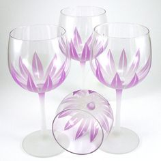 Wildflower Wine Goblets with purple etch & painting.  Set of 4, $85.00 from woodeyeglass on etsy.com
