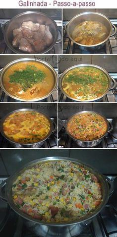 Aprenda a fazer essa receita fácil e prática de galinhada à moda mineira com sabor de comidinha da roça que é uma delícia!