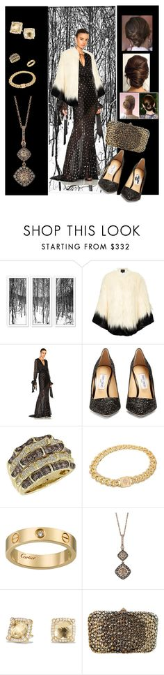 """Night Out"" by mary-kay-de-jesus ❤ liked on Polyvore featuring Unreal Fur, Alexandre Vauthier, Jimmy Choo, LeVian, David Yurman and Valentino"