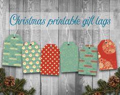 Sale: 30% off printable Christmas gift tags Retro by PaperFarms