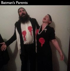 Batmans parents.  16-Last-Minute-Halloween-Costumes-for-Lazy-People-009