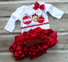 Red Satin Merry Christmas Ruffle Butt Set Diaper Cover Bow Ornament Appliqué Ruffle Bloomer