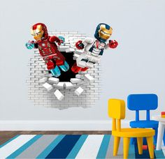 Lego Iron Man Wall decal great for the kids room. by ArtogText on Etsy Lego Iron Man, Wall Decals, Kids Room, New Homes, Trending Outfits, Handmade Gifts, Etsy, Vintage, House