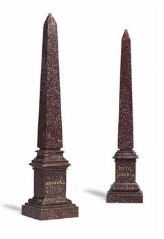 A NEAR PAIR OF ITALIAN PORPHYRY 'GRAND TOUR' OBELISKS, 20TH CENTURY Inscribed 'DIVO CLAUDIO, 1840' and 'DIVO AUGUSTO, 1820' respectively 16 in. (41 cm.) high