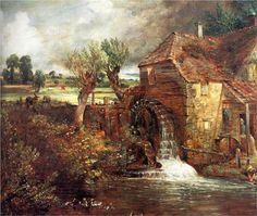 Painted by John Constable, c.1826 Parham's Mill, Gillingham -From the collection of the Fitzwilliam Museum, Cambridge, England. Constable is known to have completed four oil sketches/paintings of Parham's Mill, three from the elevation shown here and one other from a different angle. Distance from Shaftesbury to Gillingham is 5 miles.