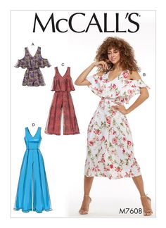 McCall's sewing pattern M7608: Misses' V-Neck Lined Sleeveless Romper and Jumpsuits