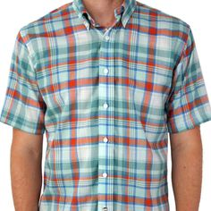 Indian Madras – Short Sleeve Teal Plaid | LUMINA