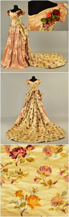 Ball gown worn by Queen Louise of Denmark, wife of Frederick VIII, 1881. Cream satin printed with polychrome roses embossed with velour and trimmed in apricot satin, bodice with ruched cap sleeve, pleated wide neck with shoulder bows, deep front and back points; trained bustle skirt with front panel having pleats and horizontal ruching, overskirt with weighted side points, train backed with satin and pleated gauze with lace trim. Helen Larson Historic Fashion Collection, via Whitaker…