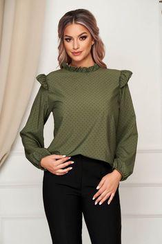 Bluza dama SunShine verde-inchis office cu croi larg din material subtire cu volanase si buline Turtle Neck, Pullover, Casual, Sweaters, Fabric, How To Wear, Tops, Women, Feminine Fashion