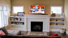 craftsman low fireplace with built in bookshelves | craftsman+living+room+fireplace+with+built+in+shelves+white.jpg