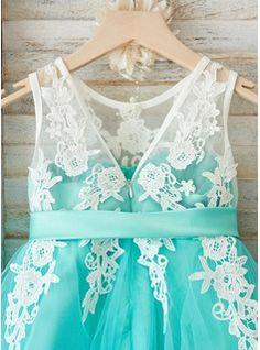 A-Line/Princess Scoop Neck Knee-length Sash V Back Tulle Lace Sleeveless Flower Girl Dress Flower Girl Dress
